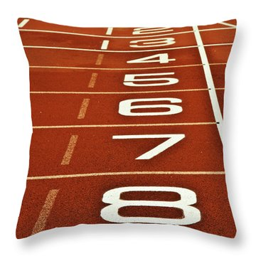 Athletics Running Track Start Finish Line Throw Pillow by Matthew Gibson