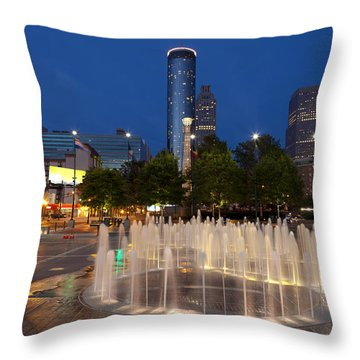 Atlanta By Night Throw Pillow by Alexey Stiop