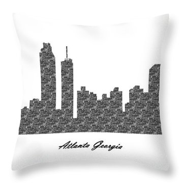 Atlanta Georgia 3d Bw Stone Wall Skyline Throw Pillow