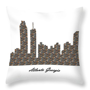 Atlanta Georgia 3d Stone Wall Skyline Throw Pillow