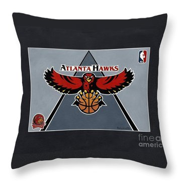 Atlanta Hawks T-shirt Throw Pillow by Herb Strobino