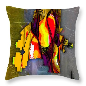 Atlanta Map And Skyline Watercolor Throw Pillow