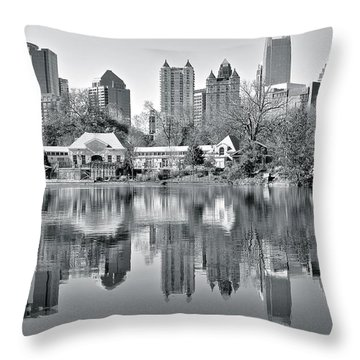 Atlanta Reflecting In Black And White Throw Pillow