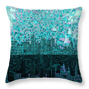 Atlanta Skyline Abstract 2 Throw Pillow by Bekim Art