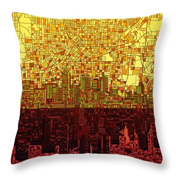Atlanta Skyline Abstract 3 Throw Pillow by Bekim Art