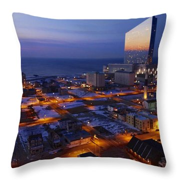 Atlantic City At Dawn Throw Pillow by Joan Reese