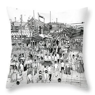 Throw Pillow featuring the drawing Atlantic City Boardwalk 1890 by Ira Shander