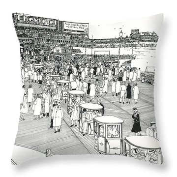Throw Pillow featuring the drawing Atlantic City Boardwalk 1940 by Ira Shander