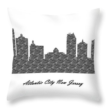 Atlantic City New Jersey 3d Bw Stone Wall Skyline Throw Pillow