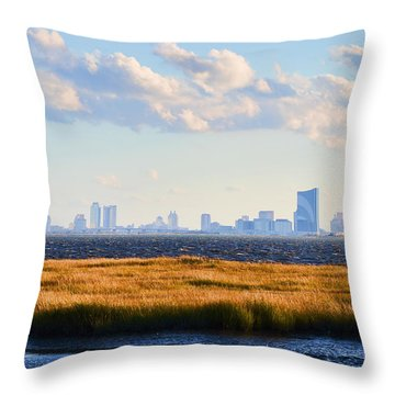 Atlantic City Skyline From Salt Marsh Throw Pillow