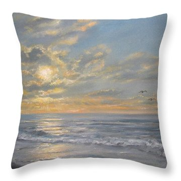 Throw Pillow featuring the painting Atlantic Dawn by Kathleen McDermott