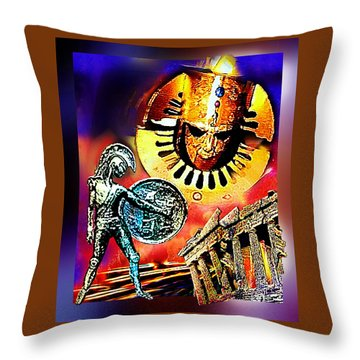 Throw Pillow featuring the mixed media Atlantis - The Minoan Empire Has Fallen by Hartmut Jager