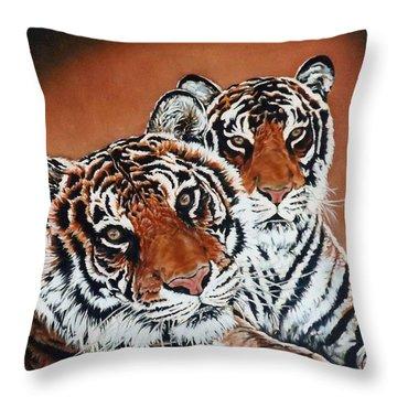 Atlas And Xena Throw Pillow by Linda Becker