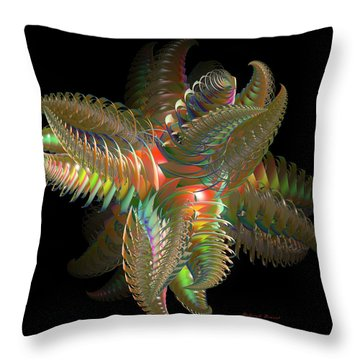 Atom Of Color Throw Pillow by Deborah Benoit