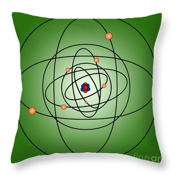 Atomic Structure Model Throw Pillow by Science Source