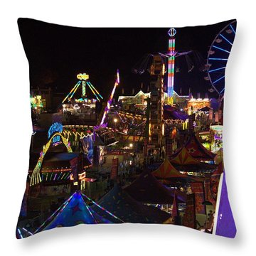Throw Pillow featuring the photograph Atop The Carnival by Tyson Kinnison
