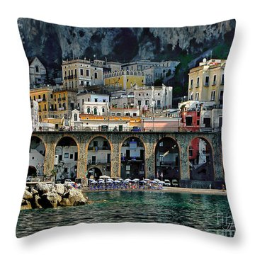 Atrani. Amalfi Coast Throw Pillow by Jennie Breeze