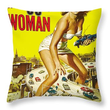 Attack Of The 50 Ft Woman Poster Throw Pillow by Gianfranco Weiss