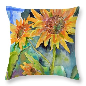 Attack Of The Killer Sunflowers Throw Pillow