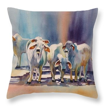 Attention All Ears.  Brahman Bulls Throw Pillow by Roxanne Tobaison