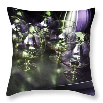 Aubergine Paris Wine Glasses Throw Pillow