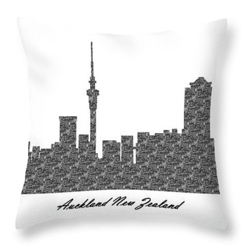 Auckland New Zealand 3d Bw Stone Wall Skyline Throw Pillow