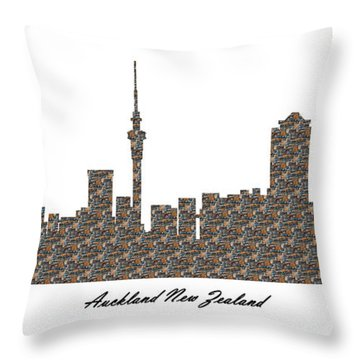 Auckland New Zealand 3d Stone Wall Skyline Throw Pillow