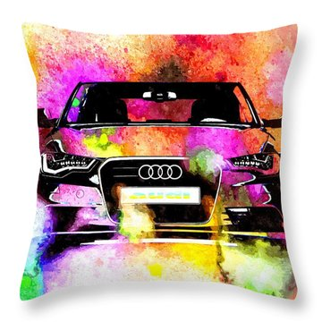 Audi A6 Avant Watercolor Throw Pillow