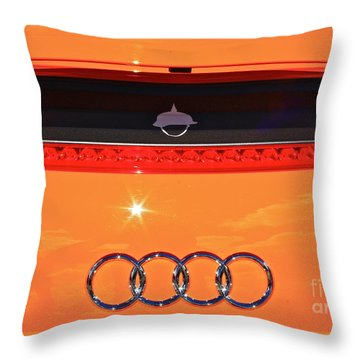 Throw Pillow featuring the photograph Audi Orange by Linda Bianic