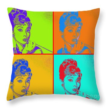 Audrey Hepburn 20130330v2 Four Throw Pillow