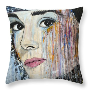 Audrey Hepburn-abstract Throw Pillow by Ismeta Gruenwald