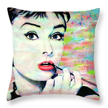 Audrey Hepburn Art Breakfast At Tiffany's Throw Pillow by Bob Baker
