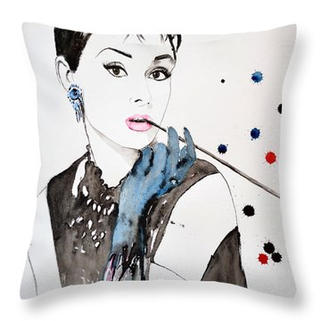 Throw Pillow featuring the painting Audrey Hepburn by Ismeta Gruenwald