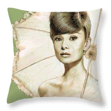 Audrey Hepburn Portrait Throw Pillow by Dominique Amendola