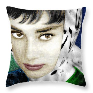 Audrey Hepburn Throw Pillow by Tony Rubino