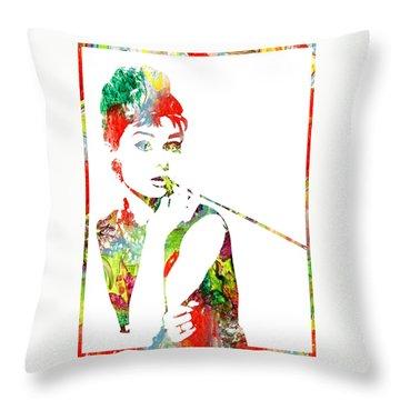 Audrey Hepburn - Watercolor Throw Pillow