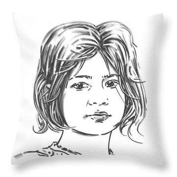 Throw Pillow featuring the drawing Audrey by Olimpia - Hinamatsuri Barbu
