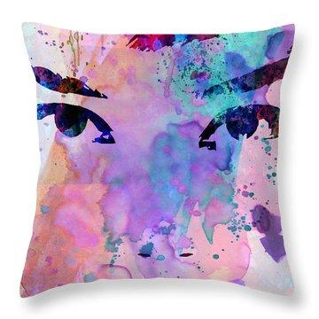 Audrey Watercolor Throw Pillow by Naxart Studio