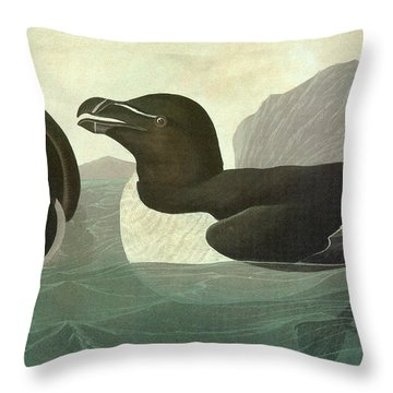 Audubon Razorbill Throw Pillow