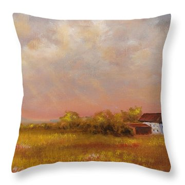 Throw Pillow featuring the painting August Afternoon Pa by Katalin Luczay