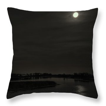 August Full Moon Over Lake Wausau Throw Pillow