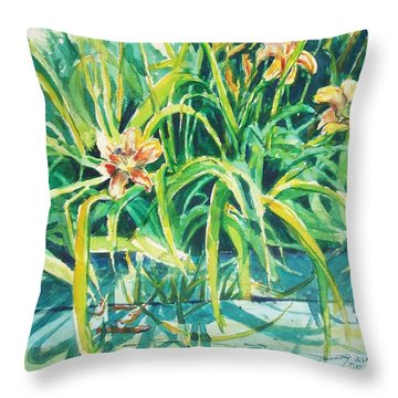 Throw Pillow featuring the painting August Shadows by Joy Nichols