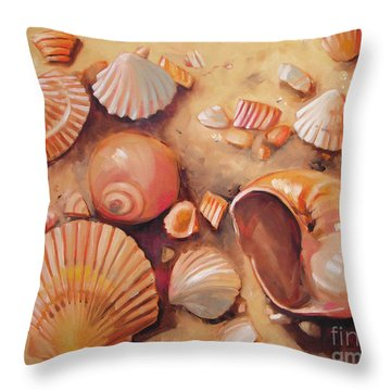 August Shells Throw Pillow by Mary Hubley