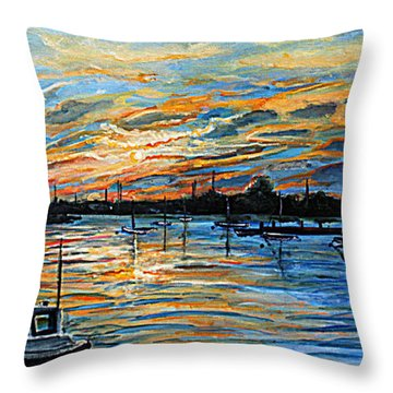 Throw Pillow featuring the painting August Sunset In Woods Hole by Rita Brown