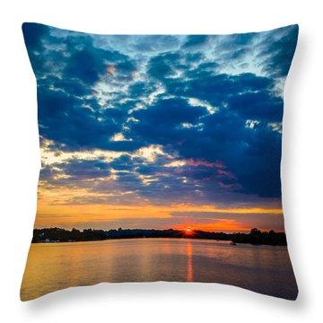 August Sunset Over Lake Nagawicka Throw Pillow by Randy Scherkenbach