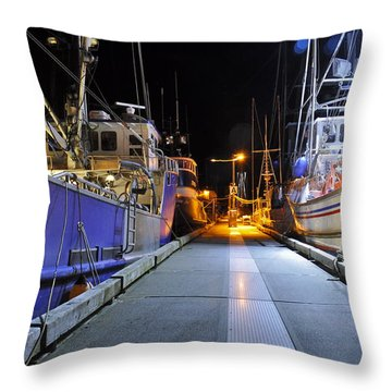 Throw Pillow featuring the photograph Auke Bay By Night by Cathy Mahnke