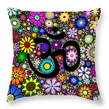 Aum Flowers Throw Pillow