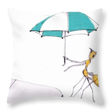 Ant With Umbrella Throw Pillow