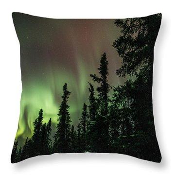 Aurora Among The Trees Throw Pillow