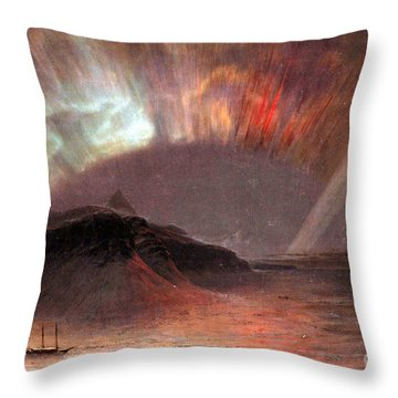 Aurora Borealis By Frederick Edwin Church Throw Pillow